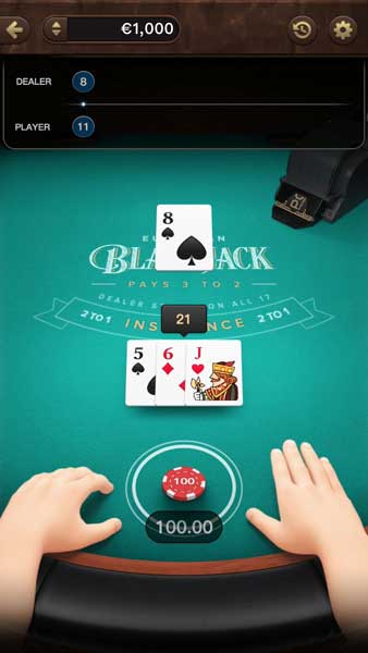 European Blackjack feature